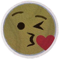 #kiss #face #heart #emoji Round #Beach towel  pixels.com