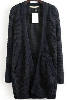 This looks a little faded but would like a chunky, open-front cardigan in black or another color besides grey.