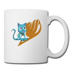 Cool Fairy Tail Happy Ceramic Coffee Mug, Tea Cup | Best Gift For Men, Women And Kids - 13.5 Oz, White * Additional details found at the image link  : Cat mug