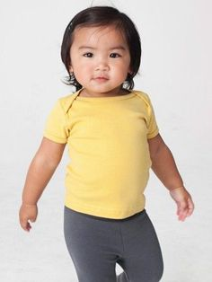 Organic Infant Rib Short Sleeve Lap Tee. Made of 100% organic cotton. Made using GOTS certified dyes and low impact process, in USA.