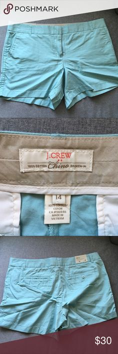 "🔥CCO PRICE DROP!🔥🆕J. Crew Blue Shorts NWT. Mint blue colored chino shorts. 5"" length. Offers welcome, bundles encouraged! J. Crew Factory Shorts"