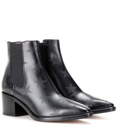 Valentino Printed leather ankle boots Black star             $219.00