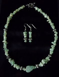 BaRb'n'ShEll Creations-Aquamarine gemstone necklace & earrings set-BaRb