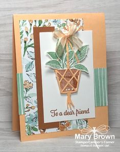 Exploding Gift Box, Bloom Where Youre Planted, Mint Flowers, Hanging Flower Pots, Leaf Cards, Stamping Up Cards, Baby Kind, Card Tutorials, Flower Cards