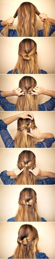 Bow hair. Once divided in half, take extra left from ponytail and flip it over the middle. (With my luck, I'd have to cut my hair when its all said & done).
