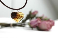 Rustic Amber Heart Necklace Hand Sculpted Pendant by DreamsFactory, $38.00