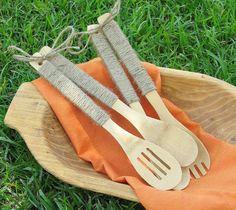 Jute wrapped serving utensils