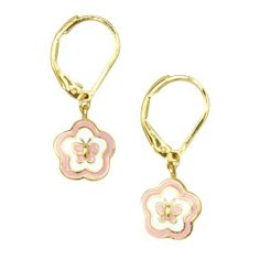 "Pink and White Enamel Flower Butterfly 18k Yellow Gold Plated Kids Leverback Pierced Post Dangle Earrings Kids Jewelry USA. $17.64. Leverback closure. 18k Yellow Gold Plated. Free Pouch Included. Light Pink and White Enamel. 1"" Length, .38"" Width. Save 77%!"