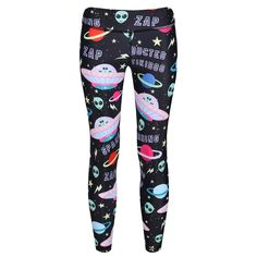 Featuring the Tikiship, aliens and planets, your shooting star will love the athletic style of Alien Abduction. These intergalactic kids' leggings are ideal for Halloween themed events, designed to perform as well as look funky.  The soft and supple LYCRA fabric stretches with their moves whether they're into dance, gymnastics or building rockets. The sci-fi design can be worn all year round, lasting longer than any novelty Halloween costume. Halloween Kostüm, Halloween Themes, Halloween Costumes, Athletic Fashion, Athletic Style, Alien Abduction, Leggings, Insta Makeup, Pajama Pants