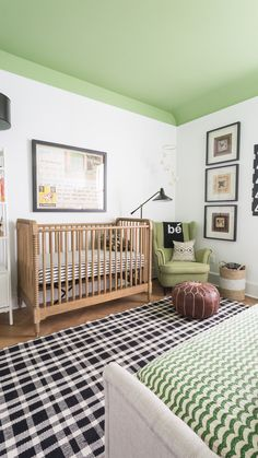 Green on the ceiling! One of my very favorite black and white nursery with retro flair.