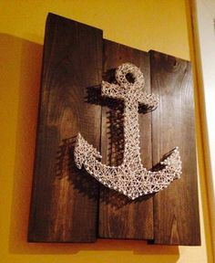 String Art Anchor on Stained Wood Nail Art by NailedItDesign