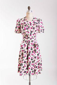 1940s Vintage Dress Fleurs Chartreuse by stutterinmama