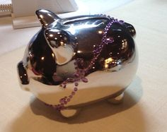 Charming Ceramic Piggy Bank Silver Tone with Purple Necklace - Edit Listing - Etsy