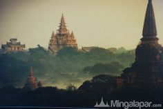 Beautiful view of the pagodas in Myanmar