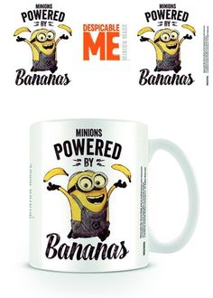 Despicable Me - Powered by Bananas - Ceramic Coffee Mug. Dishwasher and microwave safe. Capacity: ca 11oz. Official Merchandise. FREE SHIPPING