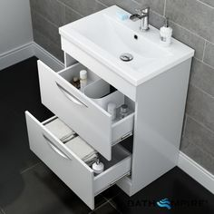 Double Drawer Gloss White Floor Standing Basinunit | Severn - BathEmpire