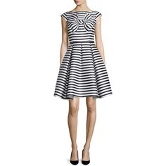 kate spade new york cap-sleeve striped dress with bow detail ($470) ❤ liked on Polyvore featuring dresses, white dress, boat neck dress, white pleated dress, cap sleeve dress et white bow dress