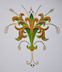 This Ely Knot design combines silk shading in tones of green with goldwork embroidery techniques on a background of ivory silk dupion. With all of the fabrics,