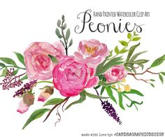 Floral clip art, peony clip art, peony flowers, hand painted peonies, watercolor clip art  This is a large and complete set to create