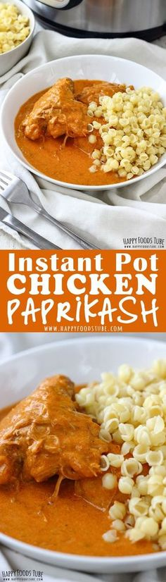 Love comfort food? Try this Instant Pot Chicken Paprikash! Easy-to-pull-apart chicken thighs cooked in plenty of creamy sauce are ready in less than 30 minutes. #instantpot #pressurecooker #chickenpaprikash #comfortfoods #recipes #hungarian #authentic #chicken #thights #paprikash #cooking #weeknightmeals via @happyfoodstube