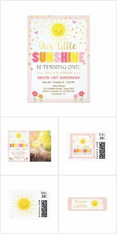 Little sunshine - spring sun yellow birthday party invitation, turning one (1st) birthday party invitation collection
