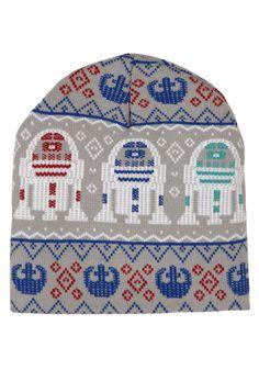 R2D2 Fairisle Print Gray Knit Beanie