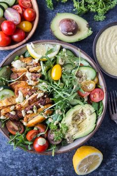 Crispy Mediterranean Chicken Salad with Lemon Herb Tahini Dressing - a healthy entree dinner recipe that is clean, delicious, paleo, and keto Buttermilk Salad Dressing, Tahini Salad Dressing, Creamy Salad Dressing, Tahini Chicken Recipe, Tahini Recipe, Chicken Recipes, Mediterranean Chicken, Mediterranean Diet Recipes, Dinner Salads