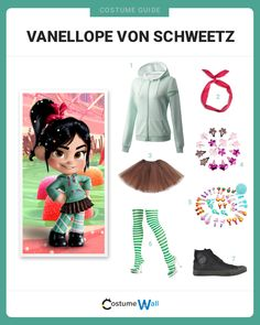 Disney's Wreck-It Ralph character, Vanellope Von Schweetz has a sugary sense of style that you can copy with this guide. Disney's Wreck-It Ralph character, Vanellope Von Schweetz has a sugary sense of style that you can copy with this guide. Halloween Costumes For Teens, Cute Costumes, Disney Costumes, Disney Halloween, Halloween Cosplay, Woman Costumes, Mermaid Costumes, Couple Halloween, Adult Costumes