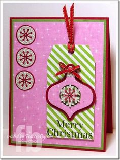 Christmas Ornament Card created by Frances Byrne using Sizzix Tags Framelits with Stamps; Sizzix Ornaments Triplits