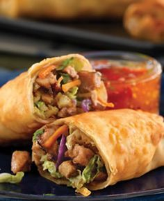Baked Egg Rolls Recipe - Diabetic Recipes from Diabetic Gourmet Magazine. (Made with pork, but you could substitute chicken.)
