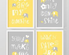 yellow grey you are my sunshine baby decor my by PinkeeArt on Etsy