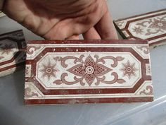 "Vintage Ceramic Border Tile Ornate Architectural Antique Old  6""x3""   £5each #Victorian"
