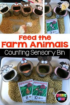 15 farm preschool activities preschool feed the farm animals math sensory bin grab a card and feed the animal the number of scoops of popcorn kernels! love this for our farm preschool! Farm Activities, Toddler Learning Activities, Fun Learning, Sensory Activities For Preschoolers, Animal Activities For Kids, Alphabet Activities, Early Learning, Circle Time Activities, Farm Games