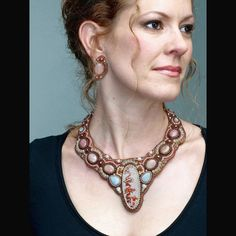 Rosetta Jasper Collar. Bead embroidery by Kate Tracton Designs