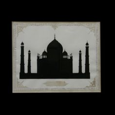 This structured silhouette of a Mosque is here watercolored in black on old paper. It may be Istanbul or Medina or simply one memory imprinting: the effect