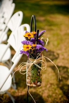 Wedding Ceremony Decorations Purple Mason Jars Ideas For 2019 Purple Wedding Flowers, Yellow Wedding, Fall Wedding, Wedding Colors, Dream Wedding, Trendy Wedding, Christmas Wedding, Khaki Wedding, Blue Flowers