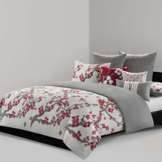 It's pretty and Japanese themed and red and grey, but it's a duvet cover and also maybe a little too flowery.