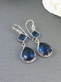 Something Blue, Sapphire Earrings,Silver Earrings,Sterling Silver,Bride,Blue,Navy,Wedding,Handmade jewelery by Valleygirldesigns on Etsy