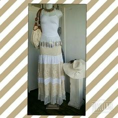 "KYRA CROCHET EYELET  MAXI SKIRT  BRAND NEW & CALLING ALL BOHO  FESTIVAL LOVERS! THIS MAXI SKIRT  IS GORGEOUS!  2 TONE  WHITE & RICH BEIGE / CREAM  FULLY LINED, & TRIMMED  WITH AN ADDITIONAL 5"" MESH NETTING. SO MUCH  DETAILING MADE INTO THIS SKIRT,  STRETCH WAIST BAND,  SKIRT IS LAYING FLAT 38"" LONG /WAIST  NON STRETCH  IS APPX 14"". PERFECT FOR SPRING & SUMMER. Kyra  Skirts Maxi"