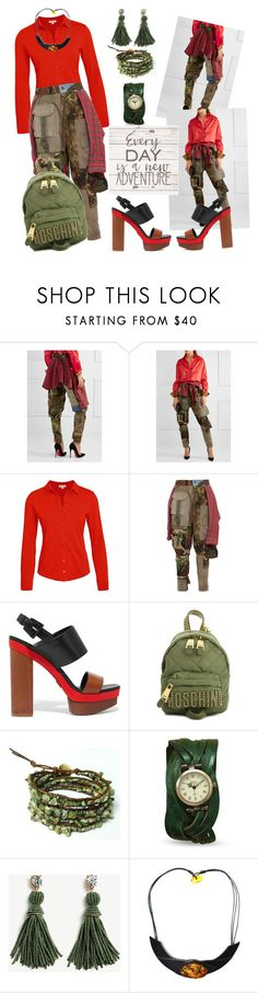 """""""Adventure Out"""" by sherrysrosecottage-1 ❤ liked on Polyvore featuring RVDK, Michael Kors, Moschino, Chan Luu, Ann Taylor, Artissimo, red, GREEN, camo and Camoflauge"""