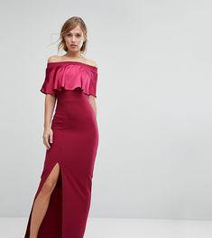 Silver Bloom Satin Contrast Bardot Maxi Dress - Red
