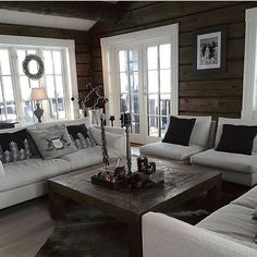 Sisustus Today there was a small change in the living room 😉 # cottage # Slettvoll Log Cabin Exterior, Log Cabin Homes, Modern Cabin Interior, Interior Design, Scandinavian Cabin, Home And Living, Living Room, Cottage Living, Log Home Interiors