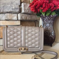 Rebecca Minkoff Love Bag This is new condition! Only used twice! This is not the small, it's the larger size! Taupe color and gold hardware. Not much wiggle room on this price! Use as a shoulder bag or a cross body. You can also remove the chain to make this a clutch. Rebecca Minkoff Bags Shoulder Bags