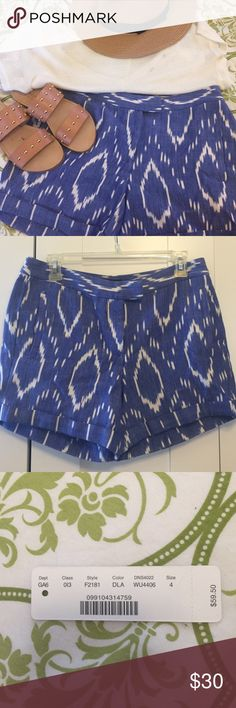 Darling J. Crew cotton ikat print shorts So cute, a vibrant Caribbean blue. With tab-waist and slit side pockets. Brand new, only worn to try on! J. Crew Shorts