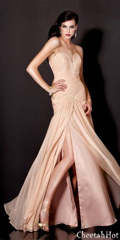 JOVANI - Crème Brulee Chiffon Gown