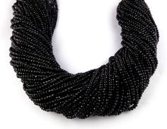 """5 Strands Black Chalcedony Micro Faceted Rondelle 3mm Gemstone Beads 14"""" Long"""