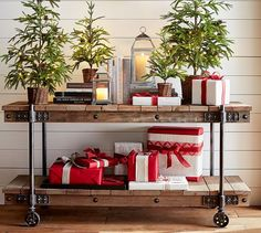 Holiday decorating on Williams Media Console | Pottery Barn
