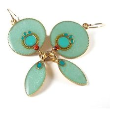 Gold Long Dangle Earrings, Mint & Turquoise color, circle and... ($50) ❤ liked on Polyvore