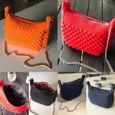 Sådan hækler du en smuk taske med - By Damsbak % Crochet Handbags, Crochet Purses, Crochet Designs, Crochet Patterns, Next Bags, Dresden Quilt, Popcorn Stitch, Yarn Bag, Chrochet