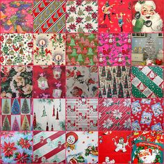 25 vintage wrapping papers for Dollhouse Christmas 2013 (Note: I made these into miniature rolls of paper & squares of wrapping paper this evening and the prints were of good quality - Evelyn) | Source: Winnie Cooper